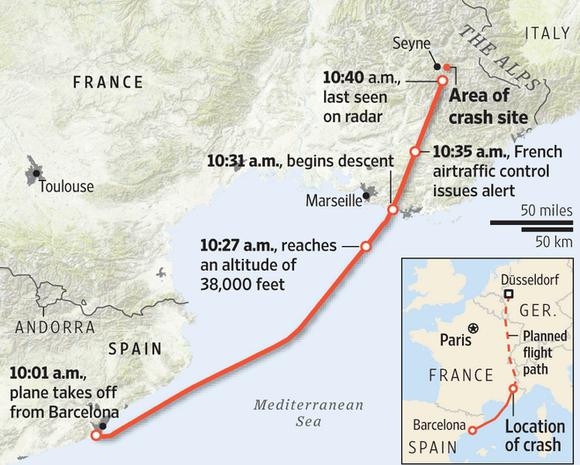 german plane crash 100 feet map